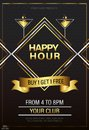 Elegant gold Happy Hours flyer, banner or template design
