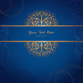 Elegant gold vector card template on dark blue background Royalty Free Stock Photo