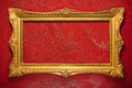Elegant golden frame on red Royalty Free Stock Images