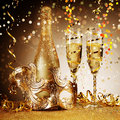 Elegant Golden Party Mask with Champagne Royalty Free Stock Photo