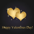 Elegant golden vector valentine hearts and modern s day illustration on a dark background with greeting Stock Photography