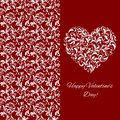 Elegant greeting postcard for Valentine`s Day. Heart from floral ornament