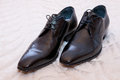 Elegant groom black shoes from groom Stock Images
