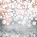 Elegant grunge silver gold pink christmas light bokeh background texture vintage retro metal crystals Stock Photos