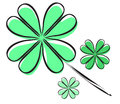 Elegant hand drawn four leaf clover symbol of luck Stock Images