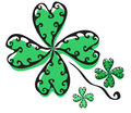 Elegant hand drawn four leaf clover for your design Royalty Free Stock Photos
