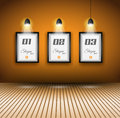 Elegant infographics design template with shopfront elements lamp with directional spot lights and panel to past your products Stock Image