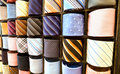 Elegant italian neckties in a tie rack Royalty Free Stock Photo