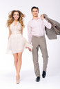 Elegant joyful couple walking together young and Royalty Free Stock Photography