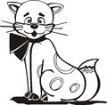 Elegant kitty with a bow on neck cartoon black and white vector illustration Royalty Free Stock Photos