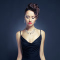 Elegant lady in evening dress Royalty Free Stock Photos