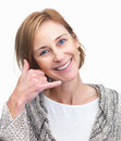 Elegant lady gesturing a call me sign Stock Image