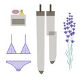 Elegant lady`s gifts. Underwear, flowers and perfume Royalty Free Stock Photo