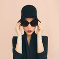 Elegant lady in a stylish hat Royalty Free Stock Photo