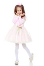 Elegant little girl in a pink dress. Royalty Free Stock Photo