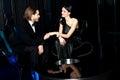 Elegant love couple in a luxury restaurant