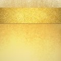 Elegant luxury gold background with ribbon stripe on top border and vintage texture Royalty Free Stock Photo