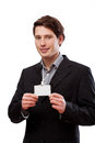 Elegant man with businesscard Royalty Free Stock Photo