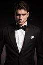 Elegant man wearing a black tux portrait of handsome Royalty Free Stock Images