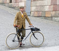 Elegant man wearing old fashioned brown tweed clothes