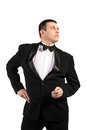 Elegant men in classical tuxedo on white background fashion Royalty Free Stock Image