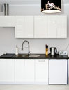 Elegant modern kitchen white black elements Royalty Free Stock Photo