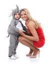 Elegant mom and baby dress as elephant over white background Stock Photos
