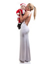 Elegant mom and baby dress as santa Stock Images