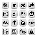 Elegant movie icons set created for mobile web and applications Royalty Free Stock Photos