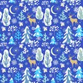 Elegant paper blue seamless background with winter pattern with snowy firs, trees, reindeer, strobile, paper cutting snowflakes fo