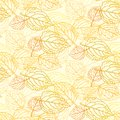 Elegant pattern with leafs drawn in thin lines simple yellow and orange seamless vector texture for web print wallpaper Stock Photos