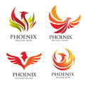 Elegant Phoenix logo vector set Royalty Free Stock Photo