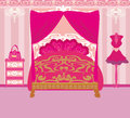 Elegant pink bedroom illustration Royalty Free Stock Image