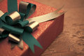 Elegant present elegantly wrapped with a green ribbon Royalty Free Stock Images