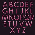Decorative latin alphabet. Modern vector font. Thin overlapping rounded lines.