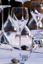 Elegant restaurant table setting beautifull of glasses and cutlery on a Stock Photography
