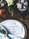 Elegant Restaurant Table Setting Service for Reception with Reserved Card Royalty Free Stock Photo