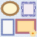 Elegant retro frame set and flower Stock Photos
