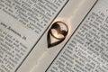 stock image of  Elegant ring on bible