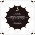Elegant round postcard for VIP invitations. With leafy elements of Victorian style. Colors are brown with white.