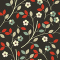 Elegant seamless pattern with colorful flowers and leaves