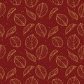 Elegant seamless pattern with drawn gold Calathea Prayer Plant leaves outlines in gold color on dark red background