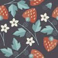 Elegant seamless pattern with a strawberry, leaves and flowers o Royalty Free Stock Photo
