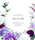 Elegant seasonal dark flowers vector design wedding frame