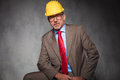 Elegant senior engineer wearing glasses and helmet Royalty Free Stock Photo