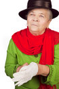 Elegant senior old lady and white glove Stock Photo