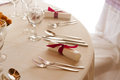 Elegant setting on the wedding or dinner table place fork spoon and knife in colorized photo Stock Photography