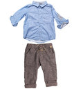Elegant shirt and trousers for baby boy on white background Royalty Free Stock Photo