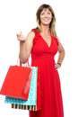 Elegant shopaholic woman carrying shopping bags Stock Photos