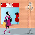 Elegant shopping woman illustration Royalty Free Stock Photography